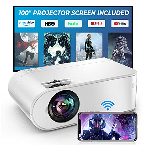 """YABER V2 WiFi Mini 7500L Projector [Projector Screen Included] 1080P Full HD and 300"""" Supported, Portable Wireless Mirroring Projector for iOS/Android/TV Stick/PS4/PC Home & Outdoor (White)"""