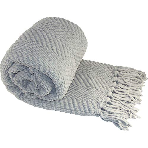 Home Soft Things Silver Throw Blanket Knitted Tweed Throw 50 x 60, Silver, Super Soft Cozy Warm Throw for Living Room Chair Couch Bed Sofa Bedroom D