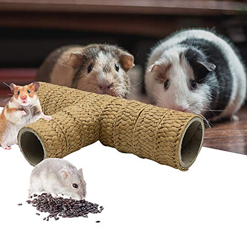 Furpaw Tunnel für Kleintiere, Kleintierspielzeug Tunnel Spielzeug Natürlich Stroh 3-Wege-Crinkle Pet Tunnel, Klein Animal Tube für Hamster Chinchillas Eichhörnchen Igel