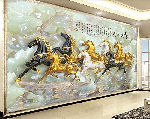 Papier Peint 3D Jade Découpant Huit Chevaux À La Chinoise Décoration Murale Home Decor Art