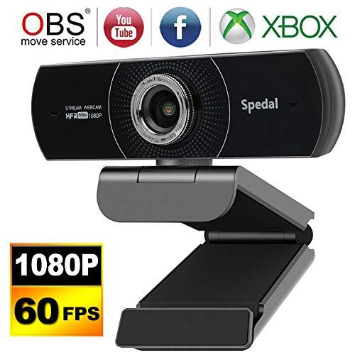 Spedal Webcam 1080p 60fps, 100 Grad Webcam mit Zwei Mikrofonen, Beauty Effekt Streaming Kamera für OBS XSplit Skype Facebook, manuelle Fokus Computerkamera kompatibel für Mac OS Windows 10/8/7