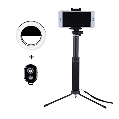 Selfie Stick Tripod 44 Inch with Ring Light Rem...