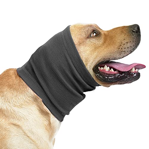 HEYWEAN Dog Neck and Ear Warmer for Anxiety Relief Wrap Dog Ear Muffs Noise Protection Snood Headband for Dogs 2 Pack