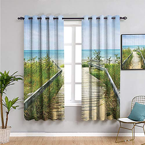 VICWOWONE Seaside Decor Collection - Cortina oscurecida, 160 cm de largo para mantener un buen sueño, color verde marfil