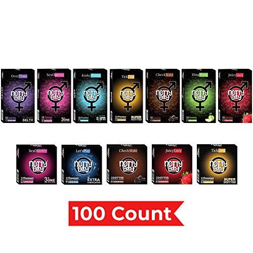 NottyBoy 100 Condoms Variety Packs Bulk (8 Variety Packs)