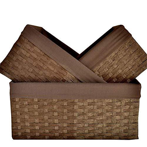 Storage Basket Rattan Desktop Woven Snack Drawer Wardrobe Bedside Basket RXL (Size : 35×26×16cm)