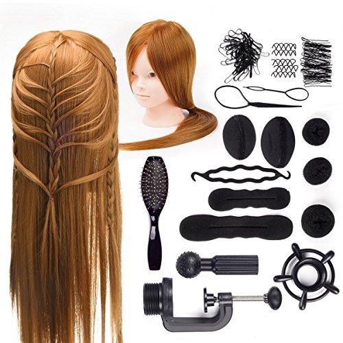 DUKWIN 22 Pouce Tête à coiffer 50% Cheveux Naturel Mannequin Tête Maquillage Formation Coiffure avec Support Support+ Peigne en acier +Set de tresse Blond 55CM