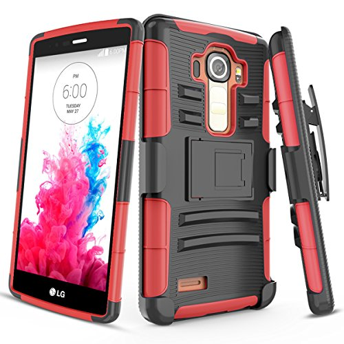 """LG G4 Case,TILL [Knight Armor] Heavy Duty Full-Body Rugged Holster Resilient Armor Case [Belt Swivel Clip][Kickstand] Combo Cover Shell for LG G4 (5.5"""" inch) 2015 Release All Carriers [Red]"""