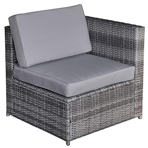 Outsunny 8-TLG. Polyrattan Gartengarnitur Gartenmöbel Garten-Set Sitzgruppe Loungeset Loungemöbel Beistelltisch als Aufbewahrungskorb Grau Stahl + Polyester 58 x 58 x 37 cm - 5