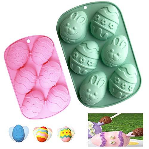 YUSHIWA 2 PCS Moldes de Huevos de Pascua Molde de Silicona 3d Molde de Chocolate de Conejo para Cumpleaños, Regalo, DIY, Jabón, Boda, Fiesta Temática (2 Tamaños, Colores Aleatorios)