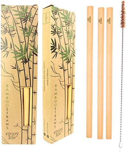 Enjoy Life 10 pajitas Reutilizables de bambú 20 cm + Cepillo de Limpieza I cóctel de pajitas 100% Naturales I ecológico I Biodegradable