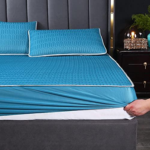 FJMLAY Sábana Ajustable de látex para Cama, Dormitorio, apartamento, Hotel, Alfombrilla Antideslizante, protección Pad-Blue_4_90cmx200cm (2 Piezas)