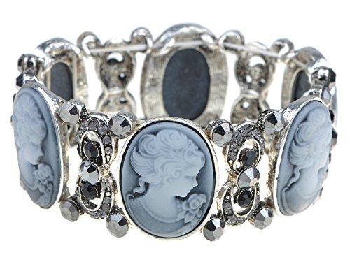 Alilang Frauen Stretchy Antik Silber Farbton Vintage viktorianischen Cameo Lady Maiden Armreif