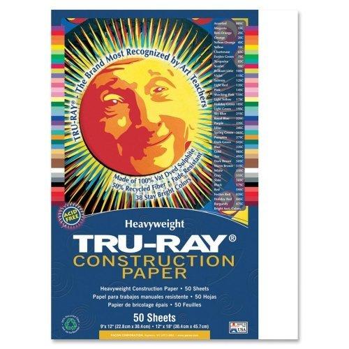 "Wholesale CASE of 25???Pacon tru-ray Heavyweight建設paper-construction用紙、76?lb。、9?"" x12、"" 50?/ PK、ホワイト"