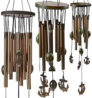 RasmussOn Handcrafted Antique Wooden Wind Chimes with Hollow Metal Tubes and Anchor Pendants - Ideal Hanging Outdoor Decoration for Your Home, Garden, Patio, Yard and Porch
