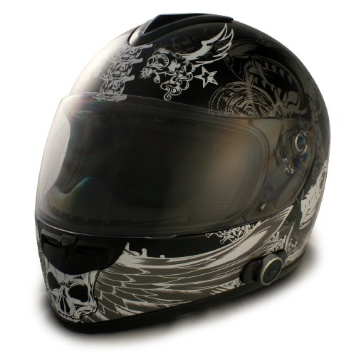 VCAN Blinc 136 Full Face Helmet with Dark Angel Graphics (Flat Black, X-Small)