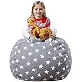 Aubliss Stuffed Animal Bean Bag Storage Chair, Beanbag Covers Only for Organizing Plush Toys, Turns into Bean Bag Seat for Kids When Filled, Medium 32'-Canvas Stars Grey
