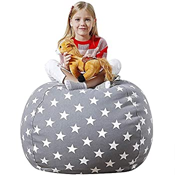 Aubliss Stuffed Animal Bean Bag Storage Chair Beanbag Covers Only for Organizing Plush Toys Turns into Bean Bag Seat for Kids When Filled Medium 32 -Canvas Stars Grey