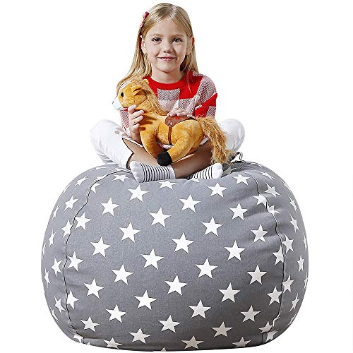 Aubliss Stuffed Animal Bean Bag Storage Chair, Beanbag Covers Only for Organizing Plush Toys, Turns into Bean Bag Seat for Kids When Filled, Premium Cotton Canvas, 32