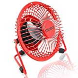 """O2COOL 4"""" USB Personal Desk Fan – Portable Mini Table Cooling Fan - Plugs into Computer - Adjustable 360° Tilt, Quiet, Rubber Grip Feet - Red"""