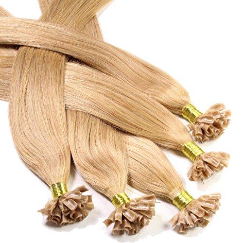Hair2Heart 100 x 0.5g Extensiones de queratina - 50cm, colore #27 rubio dorado oscuro, liso