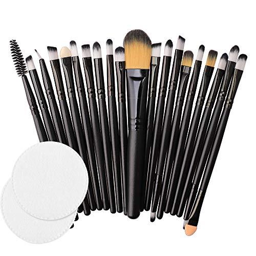 20 Pinceaux à Maquillage En Bois + 2 Tampons De Coton Rawdah 20pcs/set Makeup Brush Set tools Make-up Toiletry Kit Wool Make Up Brush Set