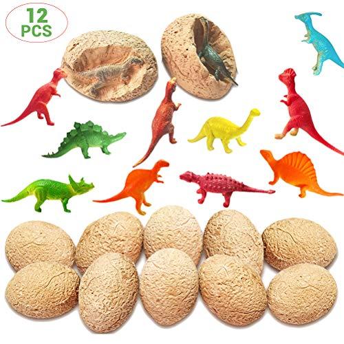 Urisgo - Juego de 12 Huevos de Dinosaurio Dino Egg Dig Up Kit de Juguetes Stem para Fiesta de Favores Arqueología Ciencia, Regalo Educativo