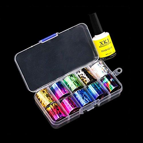 IGEMY Ein Satz von Nail Art Transferfolie 15 Farben Aufkleber für Nagel Spitze Dekoration & Star Kleber (B)