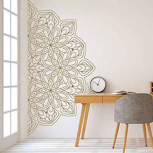 wZUN Pegatina de Pared de Media Mandala Zen Lotus Estilo Indio Dormitorio decoración del hogar Vinilo extraíble 85X42cm
