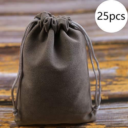 DAHI Säckchen 25 STK Samtsäckchen- Schmucksäckchen geschenksäckchen perfekt geeignet als schmuckbeutel/Geschenkverpackungen/Geschenkbeutel (dunkel grau)