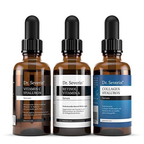 3 x Anti-Aging-POWER: Vitamin C + Hyaluron + Retinol + Collagen I Dr. Severin® Serum-Set I Tages- & Nachtpflege I Brightening + Smoothing I Anti-Pollution + Anti-Blue-Light I 3 x 50 ml