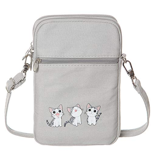 AOCINA Girls Purse Cute Purses Cute Bags for Women Teen Purse Small Crossbody Purse for Teen Girls(Grey-Three Cat)