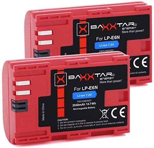 Baxxtar PRO - 2x LP-E6N (2040mAh reale) Batteria di qualità con Infochip, sistema intelligente - Compatibile con Canon EOS R 90D 80D 70D 60D 60Da 7D 6D I II 5D I II III IV XC10 XC15