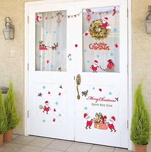 Pegatinas de pared de dibujos animados de Papá Noel para habitación de niños, decoración navideña de moda para el hogar, decoración de habitación de Año Nuevo encantador, regalos de arte, Mural