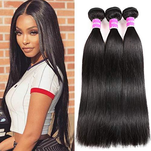 Encii Hiar 10A Grade Brazilian Straight Hair 3 Bundles 10 12 14 100% Unprocessed Virgin Human Hair Weave Bundles Natural Black Color Total 300g