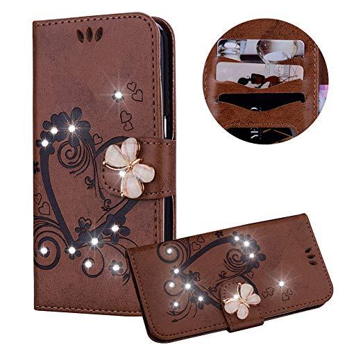 Braun Brieftasche für Huawei P20 Lite,Strass Handyhülle für Huawei P20 Lite,Moiky Luxus Liebe Herze Muster 3D Schmetterling Dekor Magnetisch Kunstleder Stoßdämpfende Handytasche mit TPU