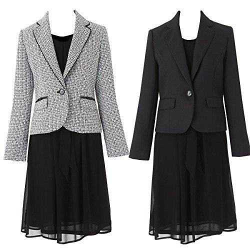 [アンジェリカ] 2枚 ジャケット ワンピース スーツ 卒業式 スーツ 母 ママ 入学式 スーツ 母 ママ A 黒白 1...