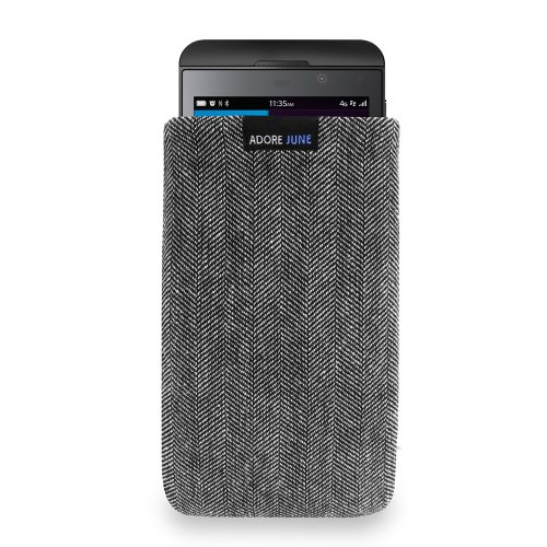 Adore June Custodia Blackberry Z10, [Serie Business] Materiale Caratteristico [Tessuto a Spina] Display di Pulizia Effetto Case Cover per Blackberry Z10 [Grigio/Nero]