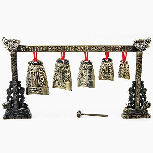 PKA Instrumento musical chino de bronce para meditación con 7 campanas de vaca adornadas