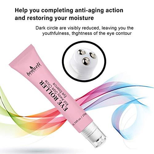 51xPtJ6nR9L - Eye Serum & Eye Roller for Anti Aging Dark Circles Puffiness Under Eye Bags Wrinkles Eye Cream Massager with Peptide Hyaluronic Acid Niacinamide 0.7 fl.oz by beaueli