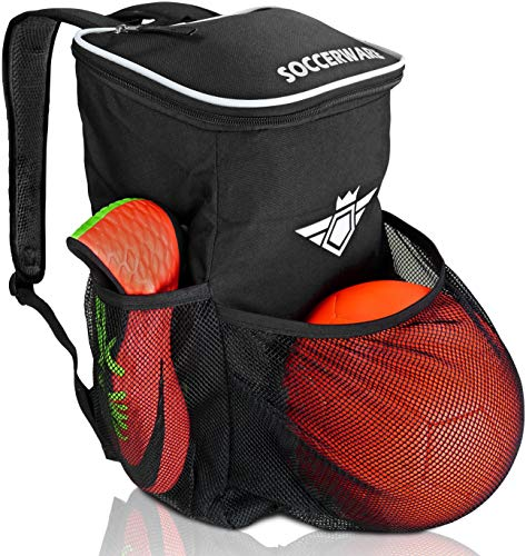Soccer Backpack with Ball Holder Compartment - for Boys & Girls | Bag...