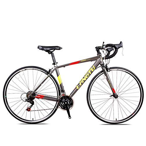 Xiaoyue Rennrad, 21 Geschwindigkeit Erwachsene Straßen-Fahrrad, Doppel-V Bremse 700C Räder Rennrad, Leichtes Aluminium Männer Frauen Rennrad, Schwarz, Rot, lalay (Color : Grey)