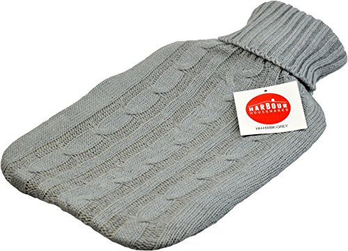 Harbour Housewares Full Size Hot Water Bottle, 2L - with Soft Knitted Cover - Grey