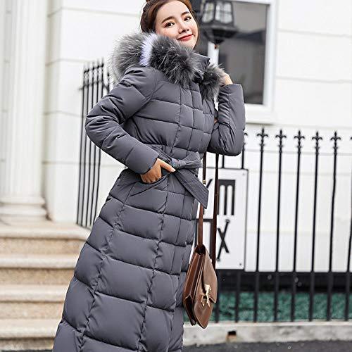 SMAWJD Daunenjacke 2019 Neue Ankunft Mode schlanke Frauen Winterjacke Baumwolle gepolstert warm verdicken Damen Mantel Lange mäntel Parka Damen jacken, graues Fell, l