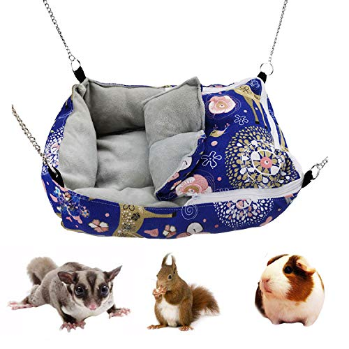 Winter Warm Guinea Pig Rabbit Hedgehog Bed Sugar Glider Squirrel Hamster Hanging Cave Bed Snuggle Sack for Cage Accessories (13.79.83.1inch, Blue)
