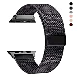 RXCOO Compatible for Apple Watch Band 38mm/40mm 42mm/44mm, Stainless Steel Mesh Wristband Loop Magnet Band Compatible with Iwatch Series 5/4/3/2/1 (Black, 42mm/44mm)
