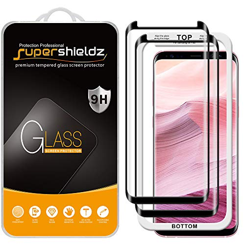 (2 Pack) Supershieldz for Samsung (Galaxy S8 Plus) Tempered Glass Screen Protector with (Easy Installation Tray) Anti Scratch, Bubble Free (Black)