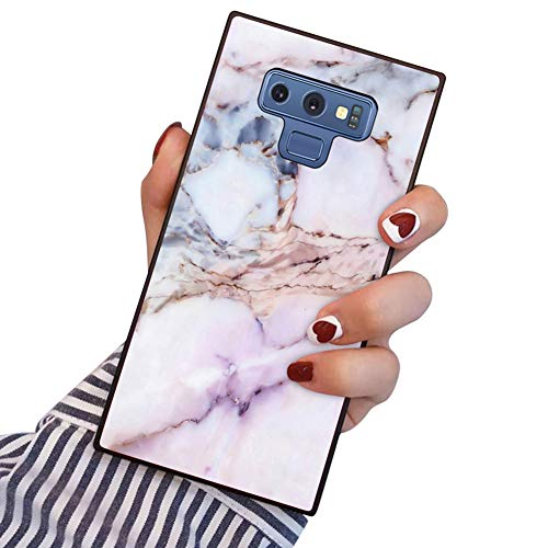 PERRKLD Samsung Galaxy Note 9 Case Square Edge Case Heavy Duty Protection Shock Absorption Slim Soft TPU Cover Pink Marble Pattern for Samsung Galaxy Note 9