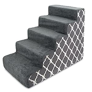 Best Pet Supplies USA Made Pet Steps/Stairs with CertiPUR-US Certified Foam for Dogs & Cats Gray Lattice Print, 5-Step (H: 22.5″) (ST255C-L)