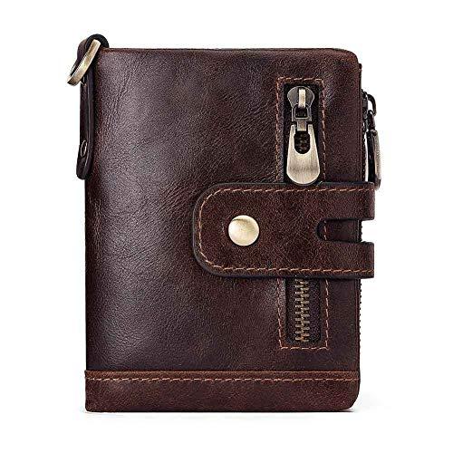 Mode Rindsleder Multifunktions Herren Geldbörse grenzüberschreitende europäische und amerikanische Leder Reißverschluss Schnalle Clutch Bag Leder (Color : Brown, Size : S)